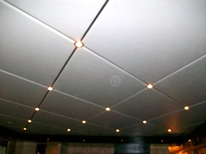 Diamond pattern ceiling panels with LED lighting